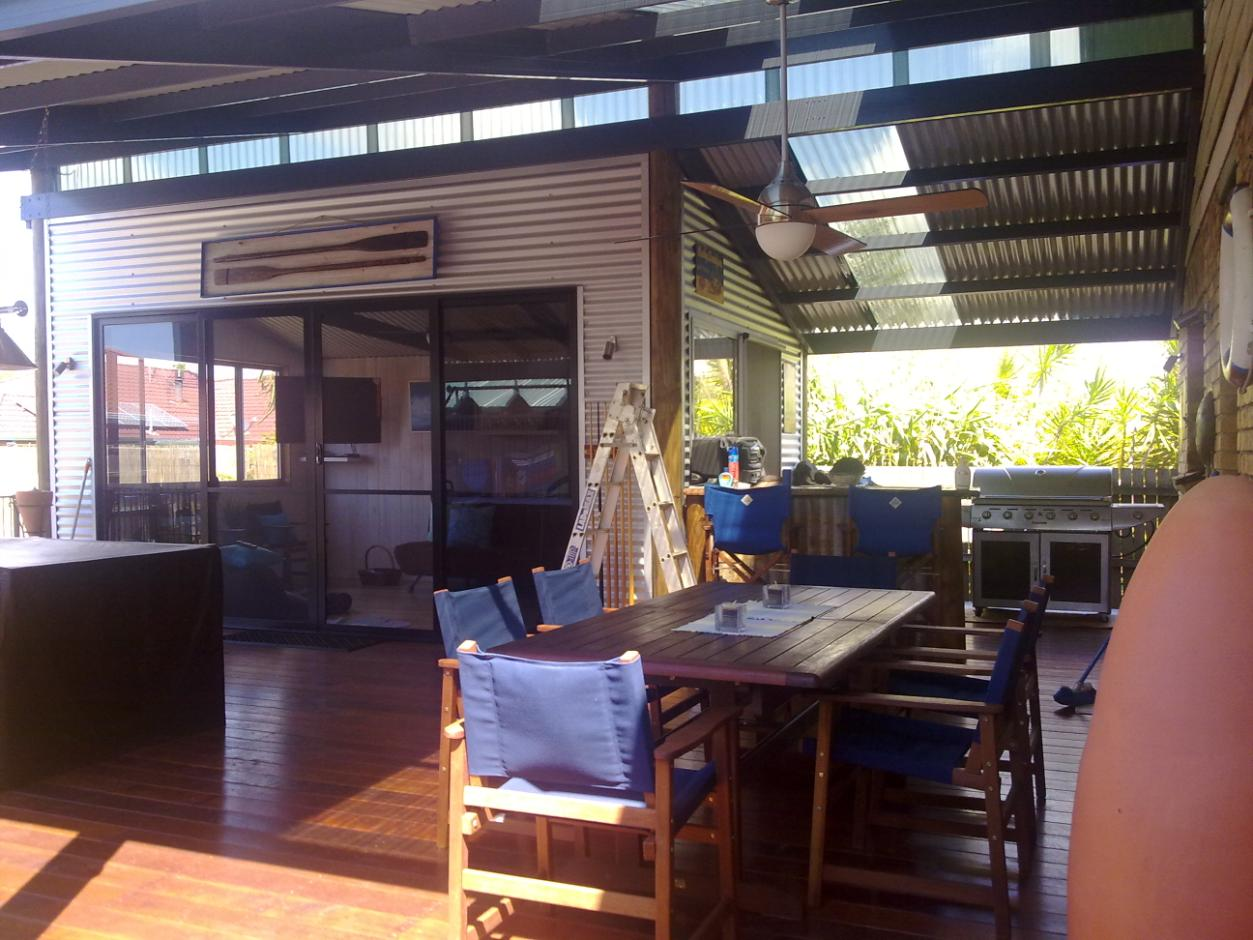 Pole frame construction with Colorbond corrugated roof and cladding