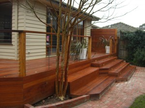 Merbau and Cypress deck by Outside Concepts Kew