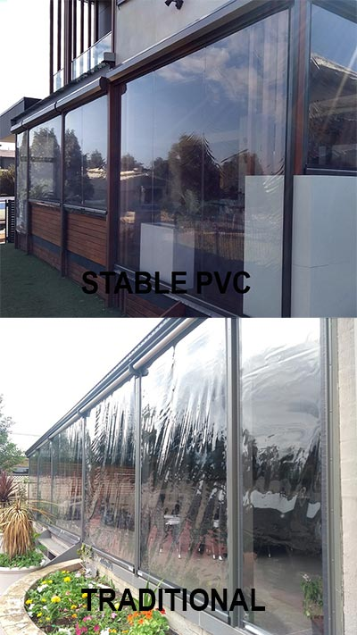 Look, no wrinkles! The difference between traditional PVC Canberra café blinds and dimensionally stable PVC blinds is clear.